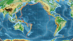 Pacific tectonics featured. Physical. Kavrayskiy VII projection Animation