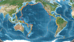 Pacific tectonics featured. Satellite imagery. Kavrayskiy VII projection Animation
