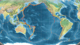 Pacific tectonics featured. Topography. Kavrayskiy VII projection Animation