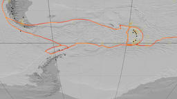 Shetland tectonics featured. Elevation grayscale. Mollweide projection Animation