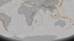 Somalia tectonics featured. Elevation grayscale. Mollweide projection Animation