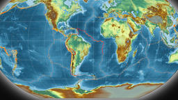 South America tectonics featured. Relief. Kavrayskiy VII projection Animation