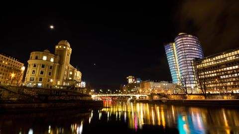 Timelapse of Vienna night cityscape on the Danube Canal Footage