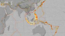 Sunda tectonics featured. Elevation grayscale. Kavrayskiy VII projection Animation