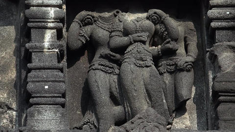 Ancient bas-reliefs telling story of Hindu epic Ramayana. Prambanan temple. Java Footage