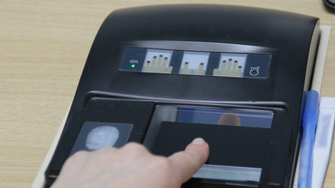 Fingerprint scan with biometrics identification Footage