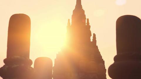 Spectacular sunrise at Prambanan Hindu temple complex. Java, Indonesia Footage