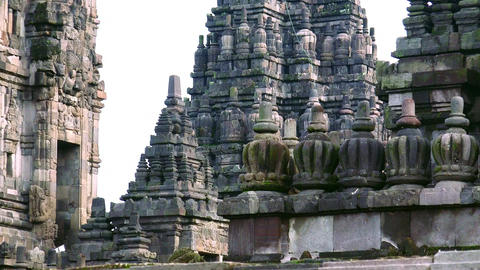 Prambanan Hindu temple complex. Religious architecture in Indonesia. Java Footage