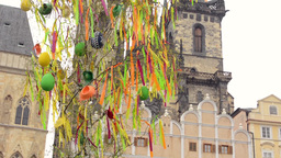 PRAGUE, CZECH REPUBLIC: APRIL 2014 - Easter markets - easter decorated tree with Footage