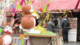 PRAGUE, CZECH REPUBLIC: APRIL 2014 - Easter Markets - Shops With People And East stock footage