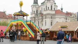 PRAGUE, CZECH REPUBLIC: APRIL 2014 - Easter markets - shops with people and reli Footage