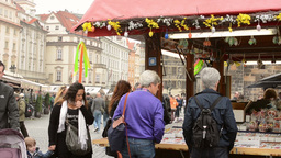 PRAGUE, CZECH REPUBLIC: APRIL 2014 - Easter markets - shops with people and squa Footage