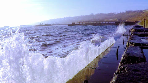 Waves Breaking on the Breakwater Footage