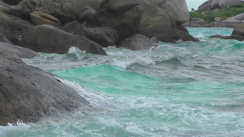 Turquoise rolling wave, slow motion Footage