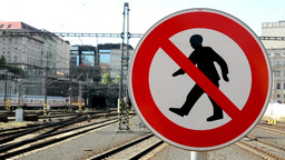 sign: no entry, train station in the background Footage