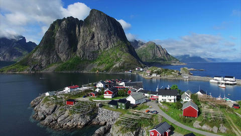 Picturesque fishing port Hamnoya in Norway Footage