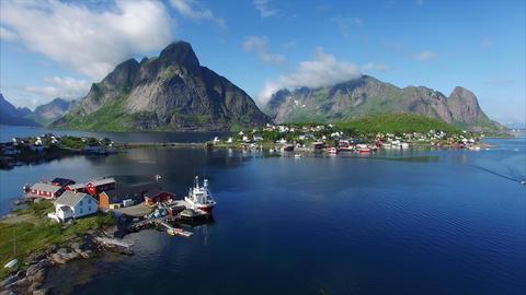 Flying above port of Reine on Lofoten islands Footage