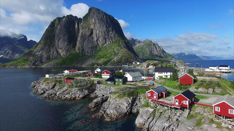 Flying above fishing village Hamnoya on Lofoten islands Footage