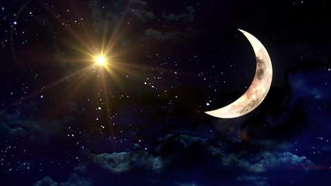clear half moon yellow star Animation