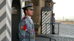 Prague Castle - gateway and guards. Resharpening Footage