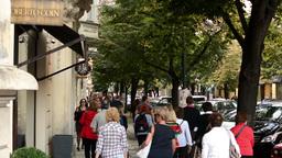 Parisian Street (Prague) - Street With Shops Of Luxury Goods - People Walking On stock footage