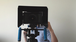 man films with professional camera Footage