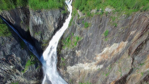 Breathtaking aerial view of Voringfossen waterfall in Norway Footage