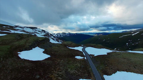 Calm cloudy evening above Aurlandsfjellet mountain pass in Norway Footage