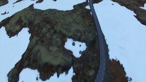 Popular norwegian national tourist route Aurlandsfjellet Live Action