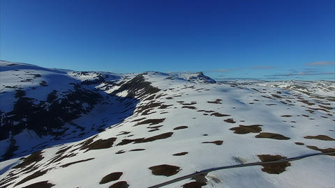Aerial view of mountain pass Aurlandsfjellet in Norway Footage