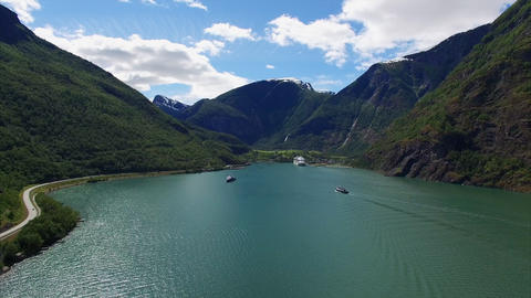 Scenic Aerial View Of Fjord With Cruise Ship In Norway stock footage