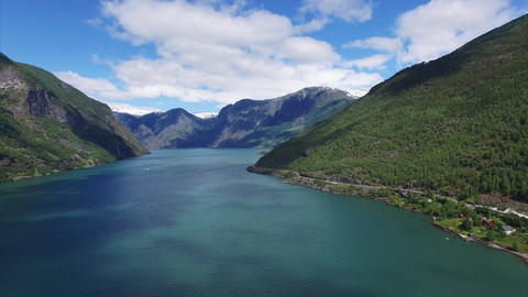 Panning aerial view above fjord in Norway Footage