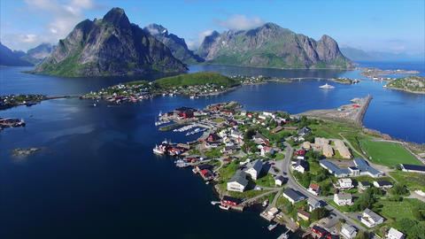 Fishing town Reine on Lofoten islands from above Footage