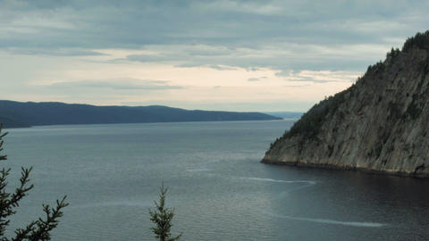 Panoramic view from Saguenay Lake Footage