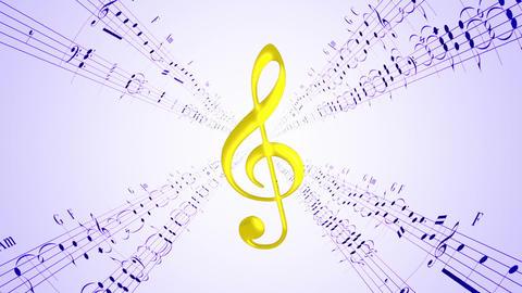Rotating violin clef & blue music sheets, loop Animation
