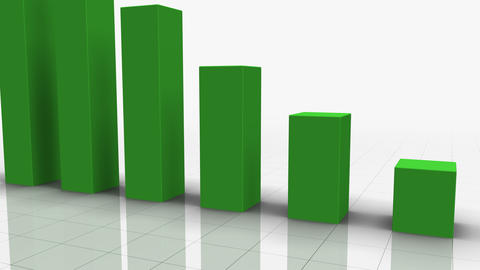 Falling Bar Graph in GREEN Stock Video Footage