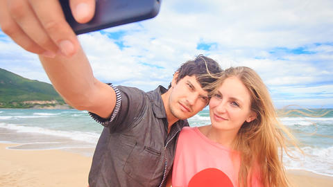 Guy Blond Girl Make Selfie with Red Heart on Beach Wave Surf Footage