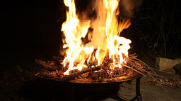Fire burning in a fire pit Footage