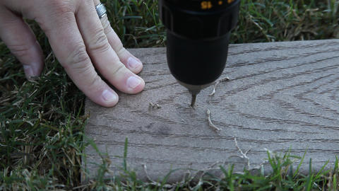 Drilling a hole in wood Footage