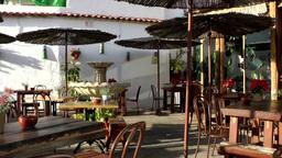 Spain Gran Canary Fataga 038 furniture on a restaurant terrace Footage