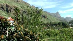 Spain Gran Canary Fataga 036 mountain landscape behind village Footage
