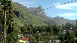 Spain Gran Canary Fataga 034 dreamlike landscape and village Footage