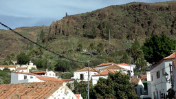 Spain Gran Canary Fataga 022 slope and houses with red roofs Footage