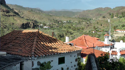 Spain Gran Canary Fataga 020 valley over red roofs Footage