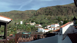 Spain Gran Canary Fataga 018 green valley behind roof terrace Footage