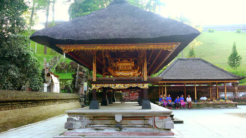 Ancient golden altar for holy sacrifices in Hindu sanctuary. Bali, Indonesia Footage