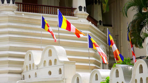 Zooming video Buddhist flags at Temple of the Tooth Relic. Kandy, Sri Lanka Footage
