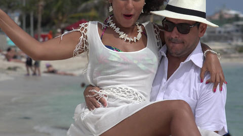 Man Carrying Woman Having Fun Live Action