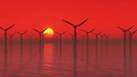 4k Windmill Turbines Clean in sea at sunrise,Green Wind Energy,new power Live Action
