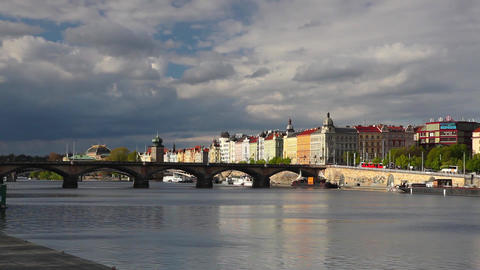 Prague panorama with Palacky bridge Footage
